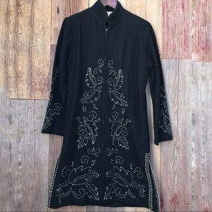 Norm Thompson Embroidered Wool Coat M